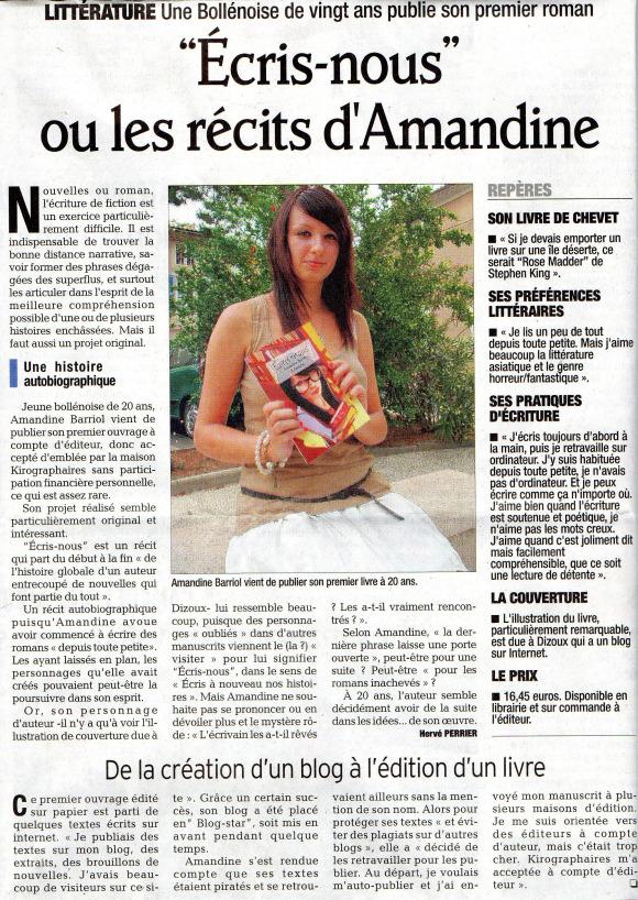 Un article du journal Vaucluse Matin paru pour le livre Ecris Nous ecrit par Amandine Barriol